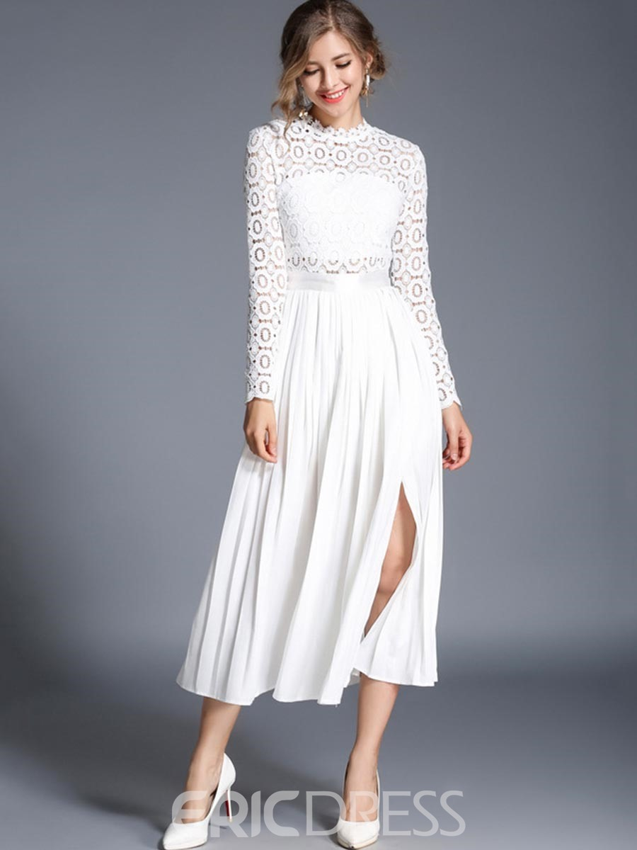 Ericdress Hollow Lace Expansion Long Sleeve Dress