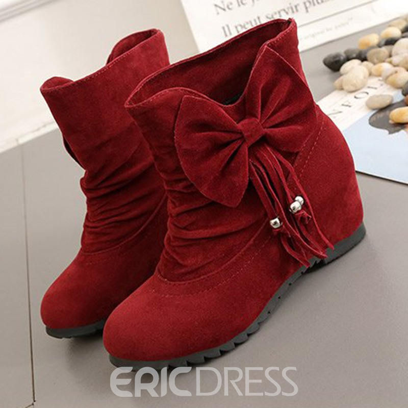 Ericdress Plain Fringe Slip-On Flat Boots with Bowtie