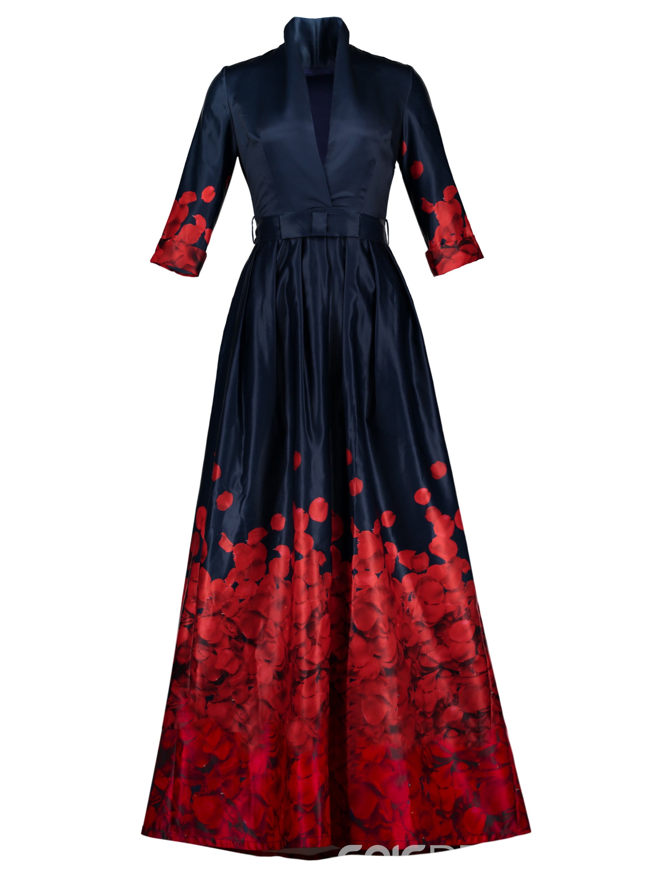 ericdress vneck belt anklelength print maxi dress