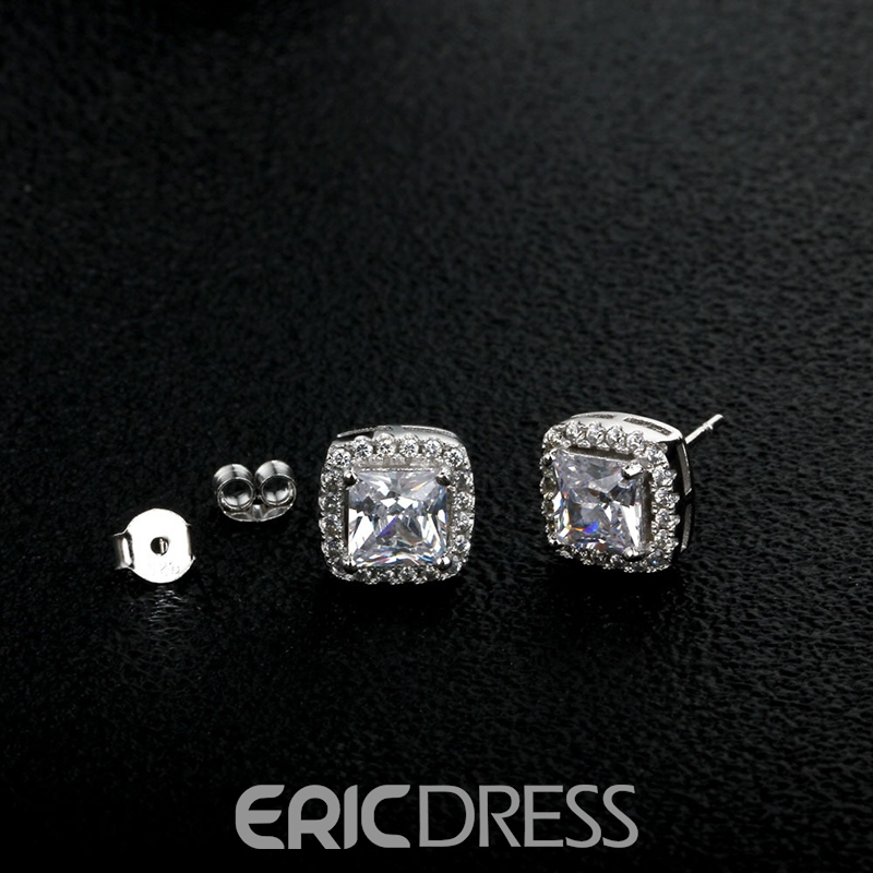 MarkChic Exquisite Cushion Cut White Sapphire Stud for Women