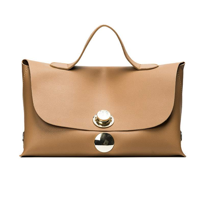 Ericdress Solid Color Metal Lock Adornment Handbag