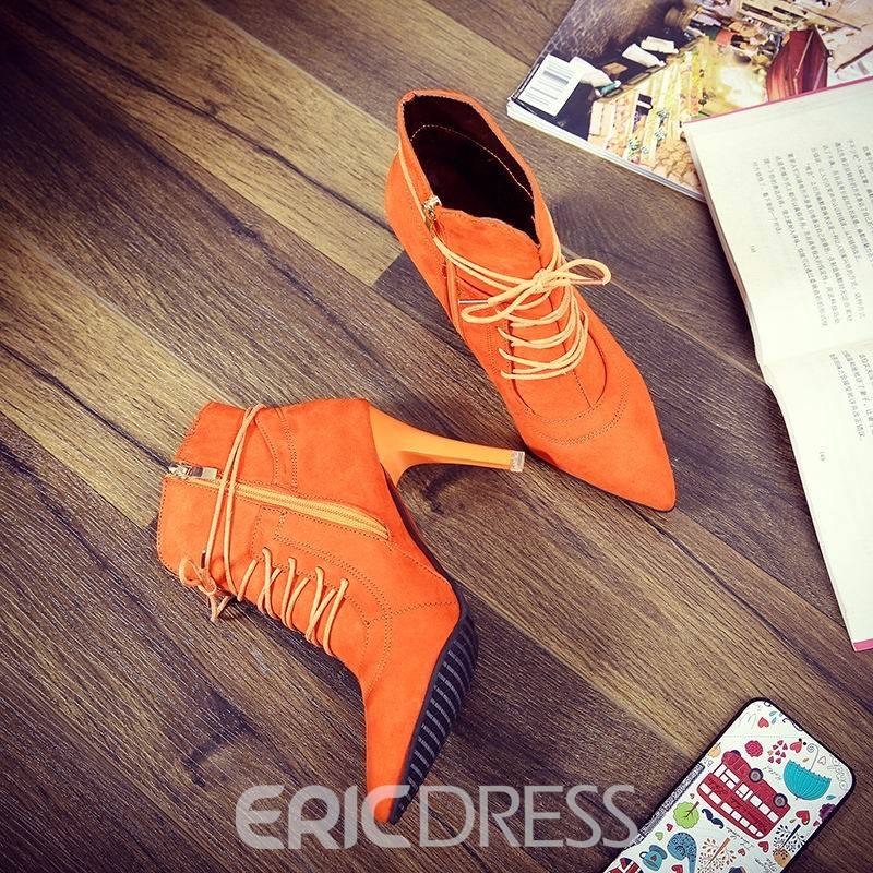 Ericdress Cross Strap Pointed Toe Plain High Heel Boots