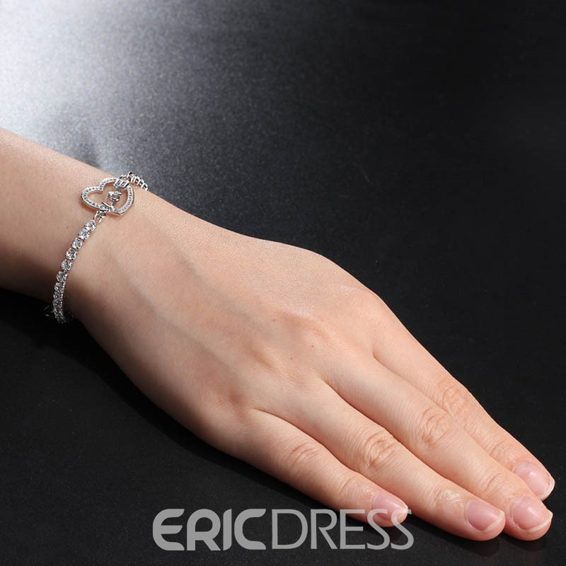 MarkChic Diamante Love Heart Solid Color Women's Bracelet