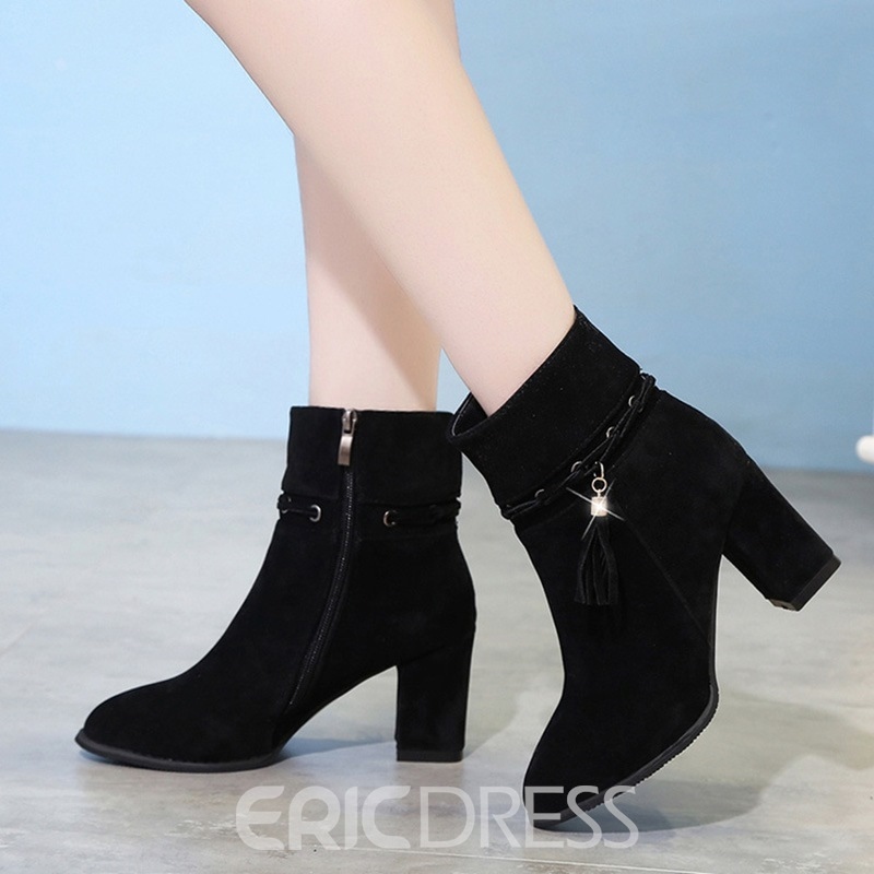 Ericdress Popular Fringe Round Toe Plain High Heel Boots