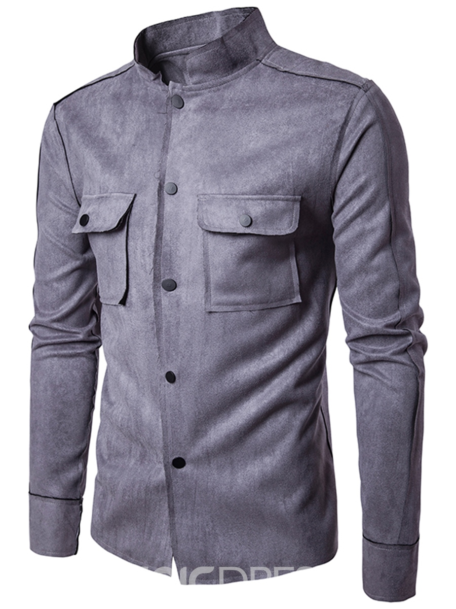 Ericdress Suede Fabric Plain Stand Collar Vogue Slim Men's Shirt
