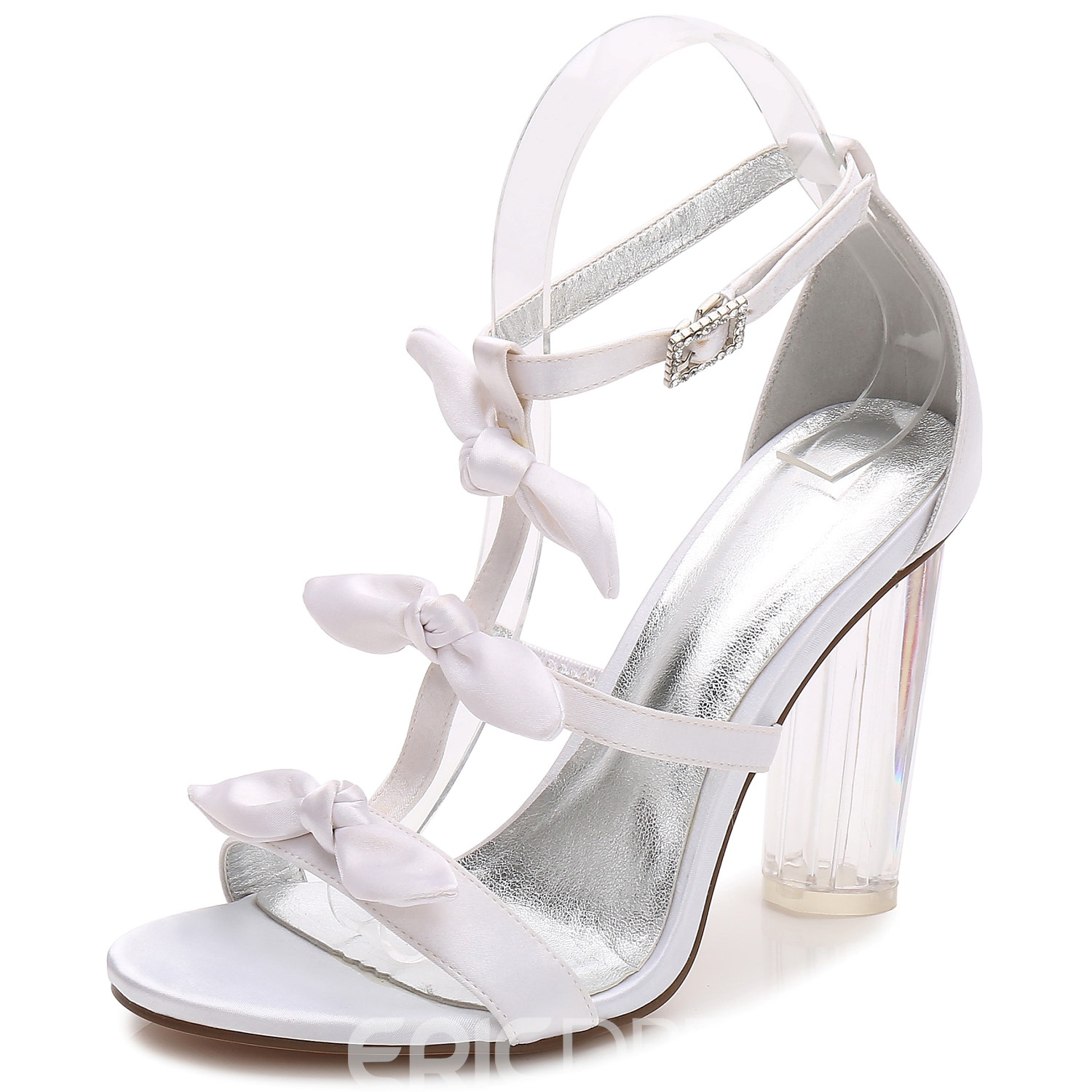 Ericdress Rhinestone Open Toe Transparent Chunky Heel Wedding Shoes with Bowknot