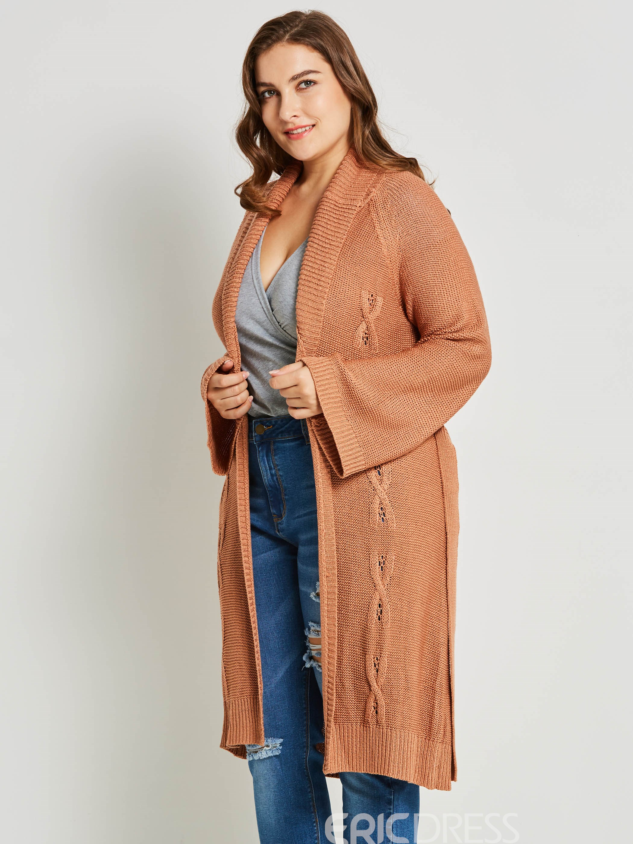 Ericdress Shawl Collar Plain Lace-Up Plus Size Knitwear