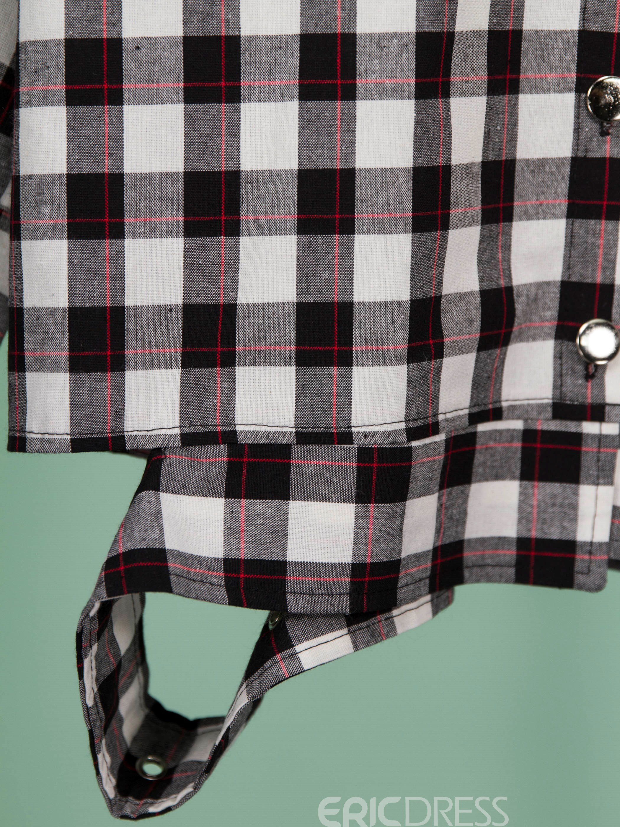 Ericdress Oblique Collar Color Block Plaid Shirt
