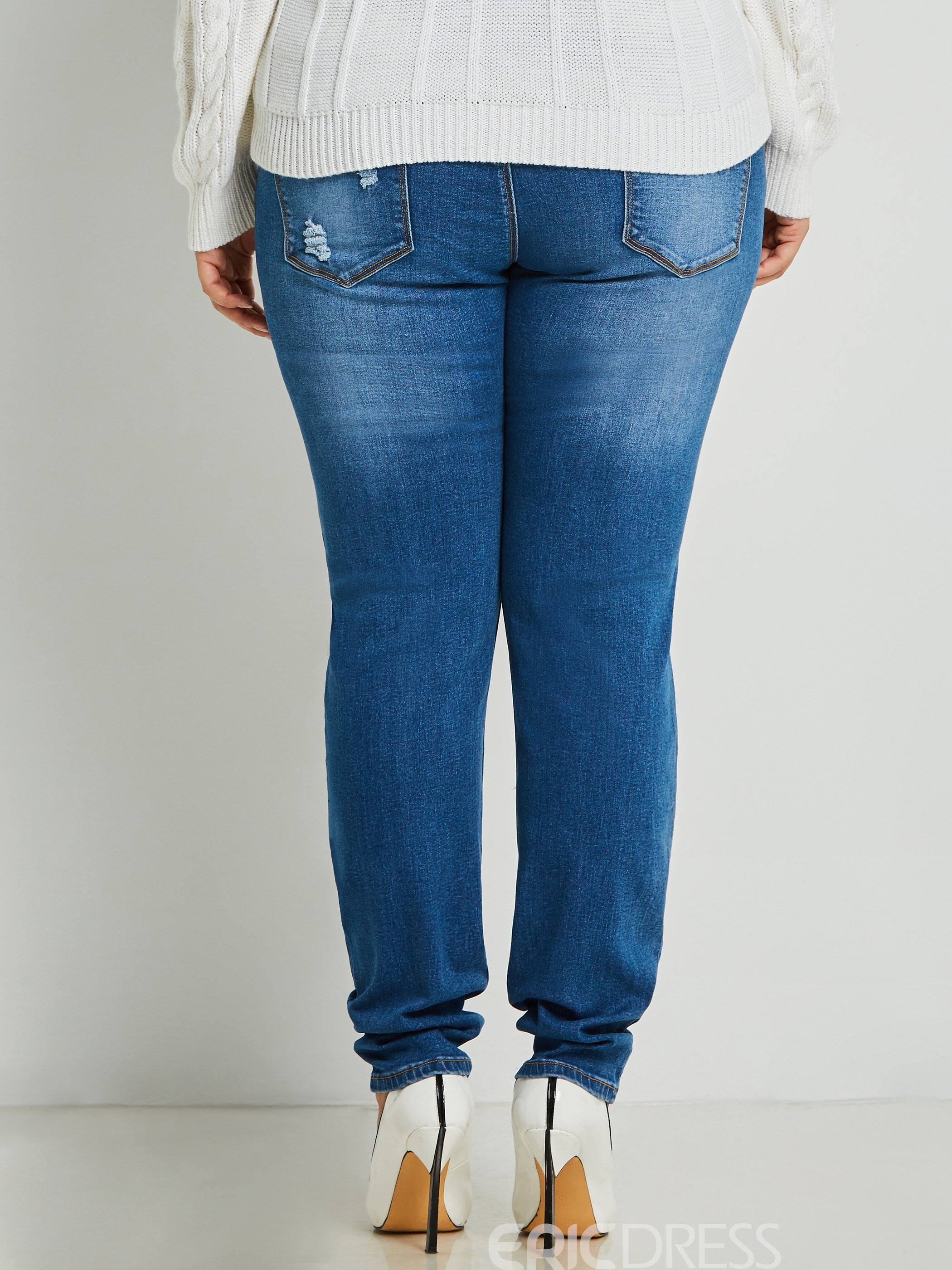 Ericdress Worn Hole Plus Size Skinny Women's Jeans