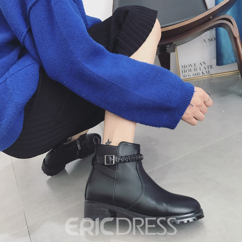 Ericdress Chain Round Toe Plain Ankle Boots with Buckle