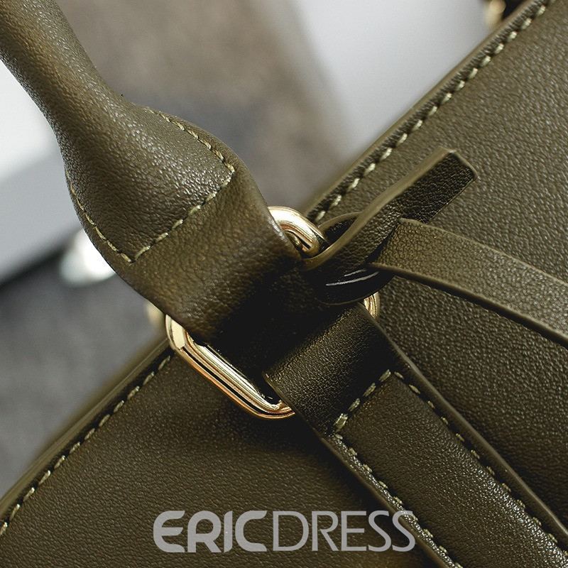 Ericdress Solid Color Belt-Decorated Zipper Handbag