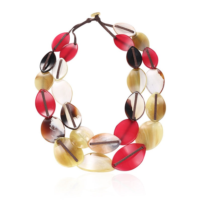 Ericdress Personal Leaf Double Layer Mulitcolor National Style Necklace