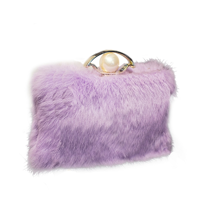 Ericdress Solid Color Plush Pearl Decoration Clutch