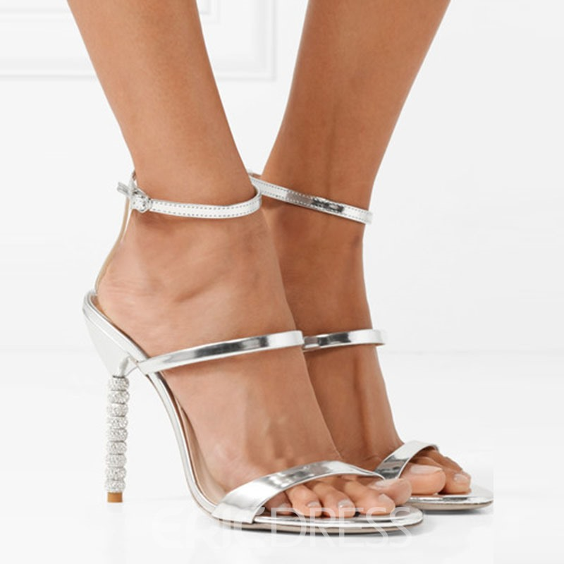 Ericdress Silver Rhinestone Strappy Plain Stiletto Sandals