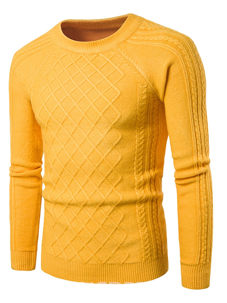 Ericdress Plain Jacquard Casual Pullover Men's Sweater