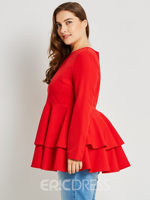 Ericdress Slim Plain Ruffles Plus-Size Blouse