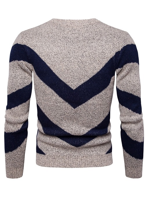 Ericdress Patchwork Color Block Slim Pullover Men's Sweater
