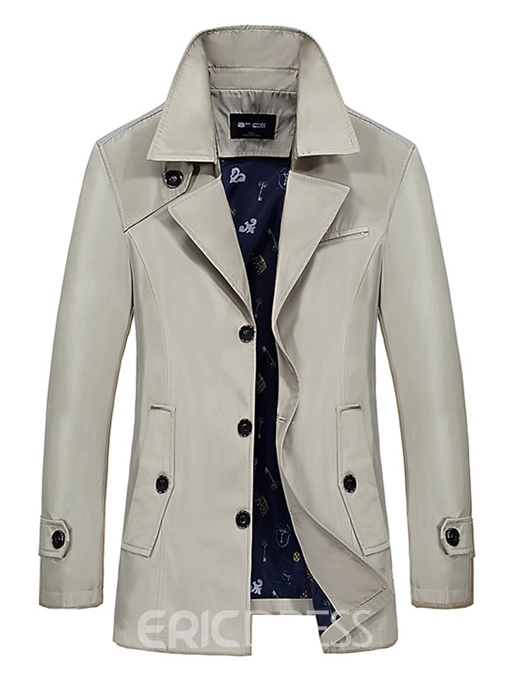 Ericdress Plain Lapel Mid-Length Vogue Men's Trench Coat