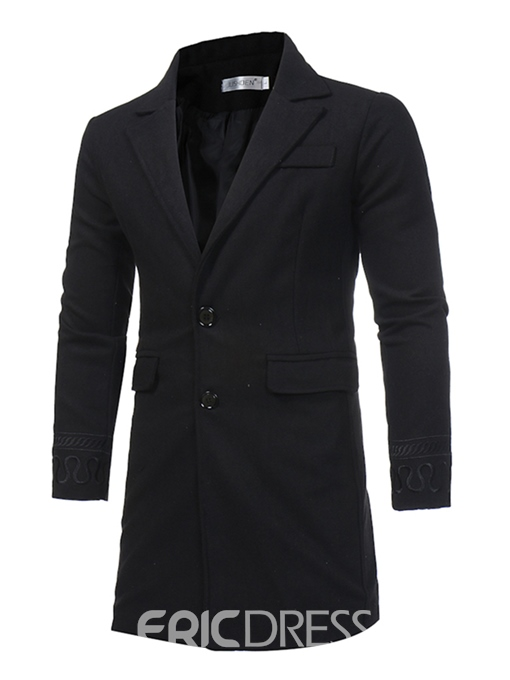 Ericdress Plain Mid-Length Lapel Slim Men's Wool Coat