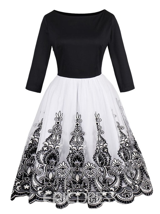 Ericdress Lace Patchwork 3/4 Length Sleeves A Line Dress