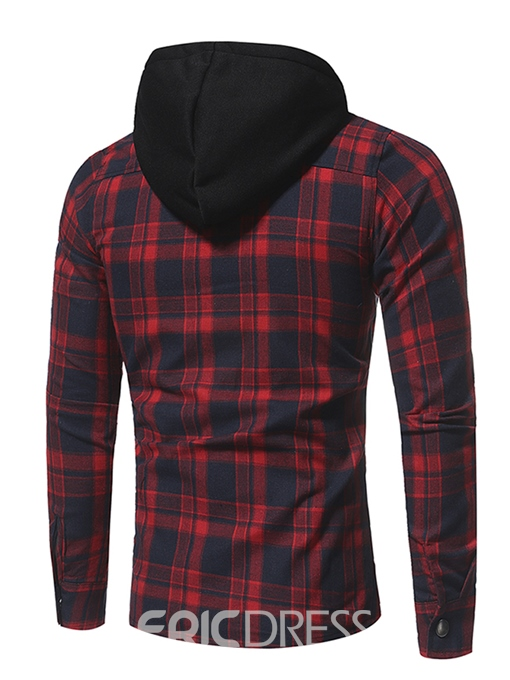 Ericdress Plaid Hood Patched Casual Men's Shirt