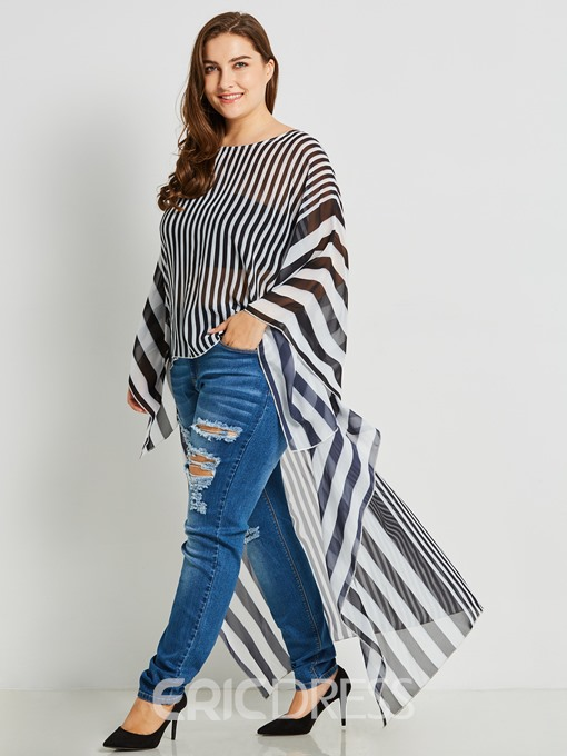 Ericdress Stripe Asymmetric Long Batwing Sleeve Plus-Size Blouse