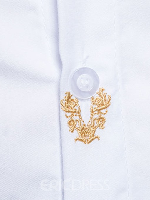 Ericdress Embroidery Anti Wrinkle Slim Men's Shirt