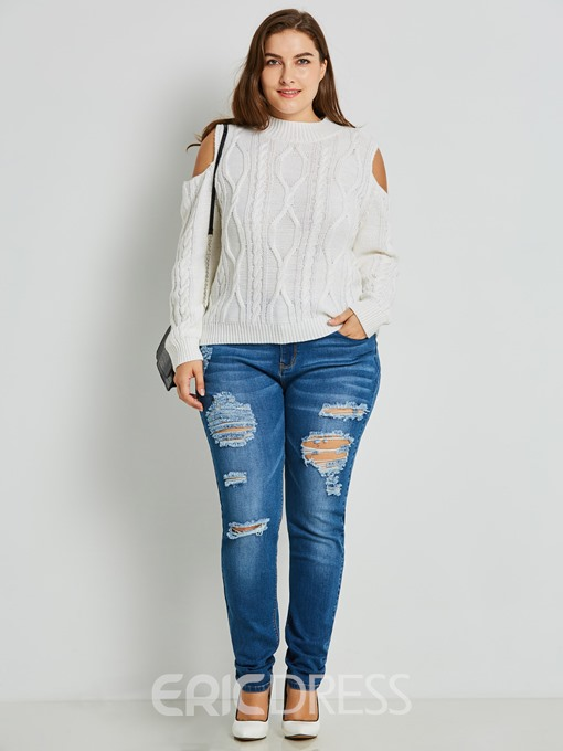 Ericdress Plus Size Worn Hole Skinny Women's Jeans