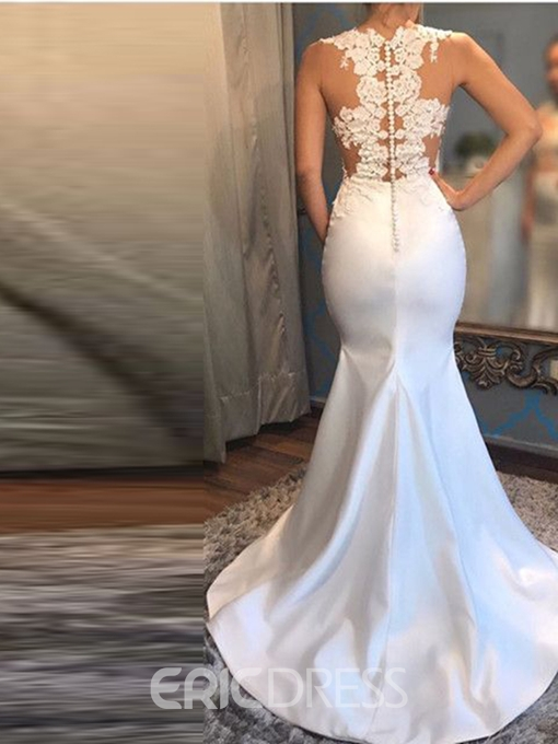 Ericdress Buttoned Back Appliques Mermaid Evening Dress