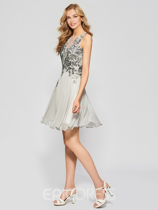 Ericdress A Line Sequin Applique Short Homecoming Dress