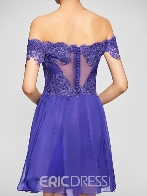 Ericdress A-Line Off-the-Shoulder Button Lace Short Homecoming Dress