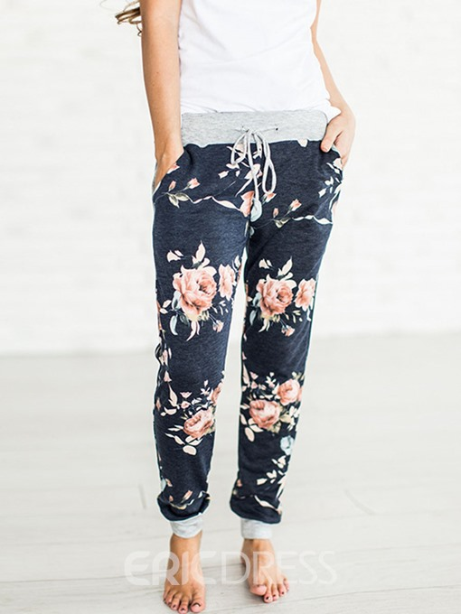 Ericdress Floral Loose Pocket Mid Waist Straight Casual Pants