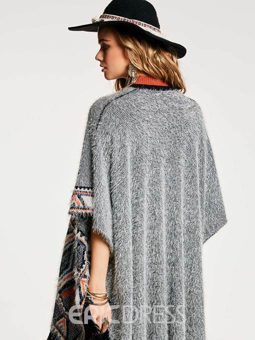Ericdress Color Block Tassel Patchwork Cape