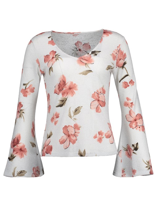 Ericdress Slim V-Neck Floral Flare Sleeve T-shirt