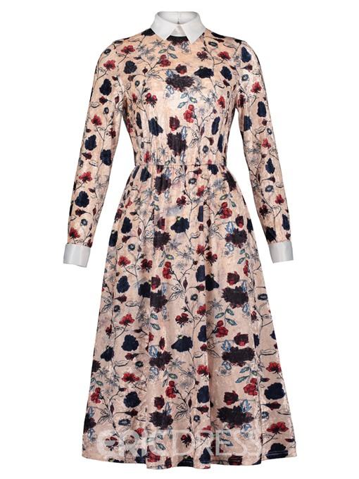 Ericdress Polo Neck Floral Print A-Line Dress
