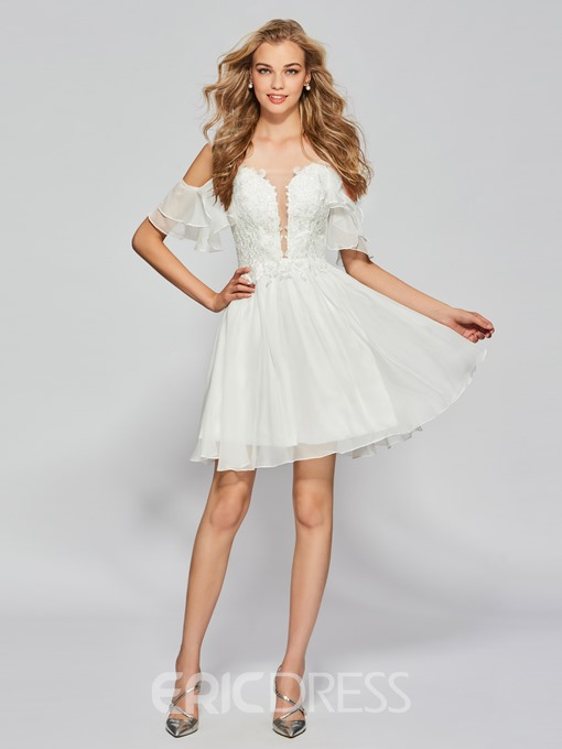 Ericdress A-Line Half Sleeves Spaghetti Straps Lace Ruffles Homecoming Dress