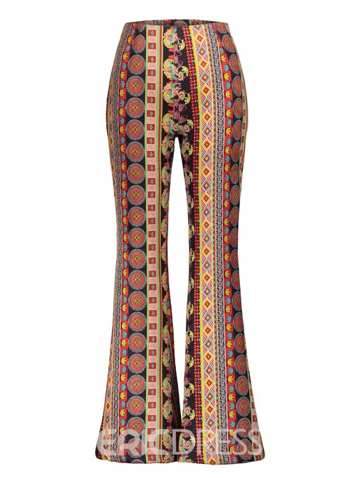 Ericdress Geometric Print Slim Women's Bellbottoms
