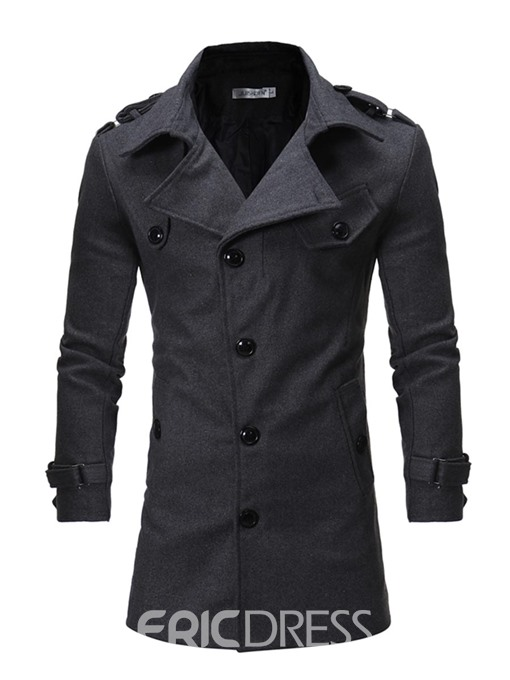 Ericdress Plain Mid-Length Belt Slim Men's Wool Coat