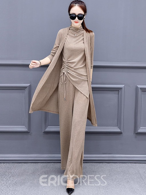 Ericdress Plain TopsTrench Coat and Pants Women's Three Piece Set