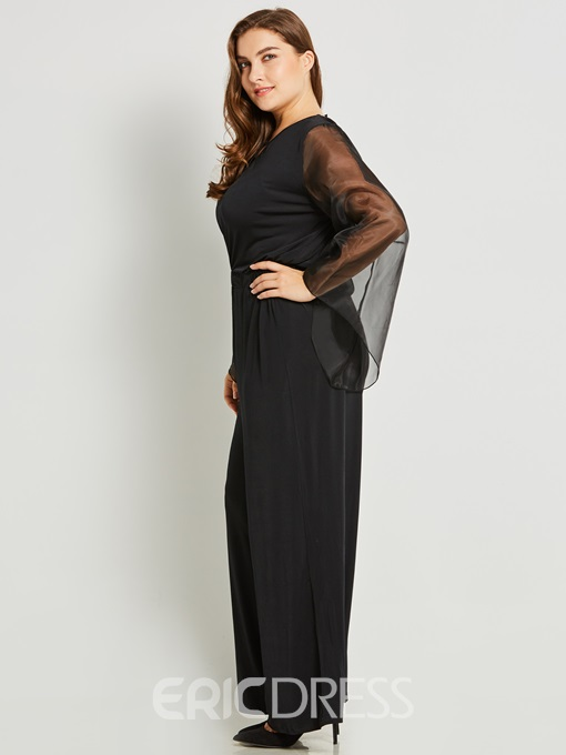 Ericdress Plus Size Wide Legs Mesh See-Through Patchwork Jumpsuits Pants