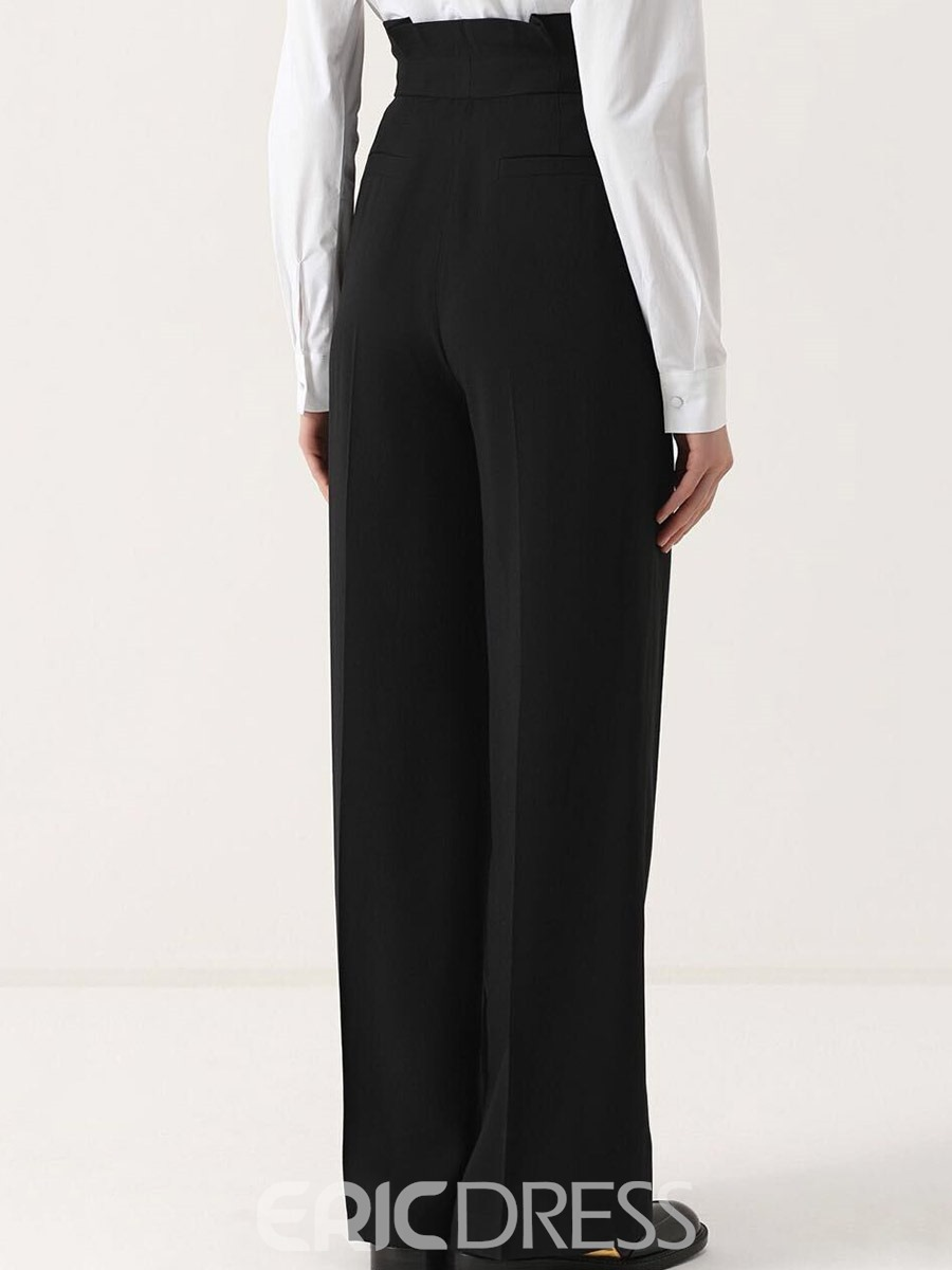 Ericdress High-Waist Pleated Pocket Wide Legs Pants