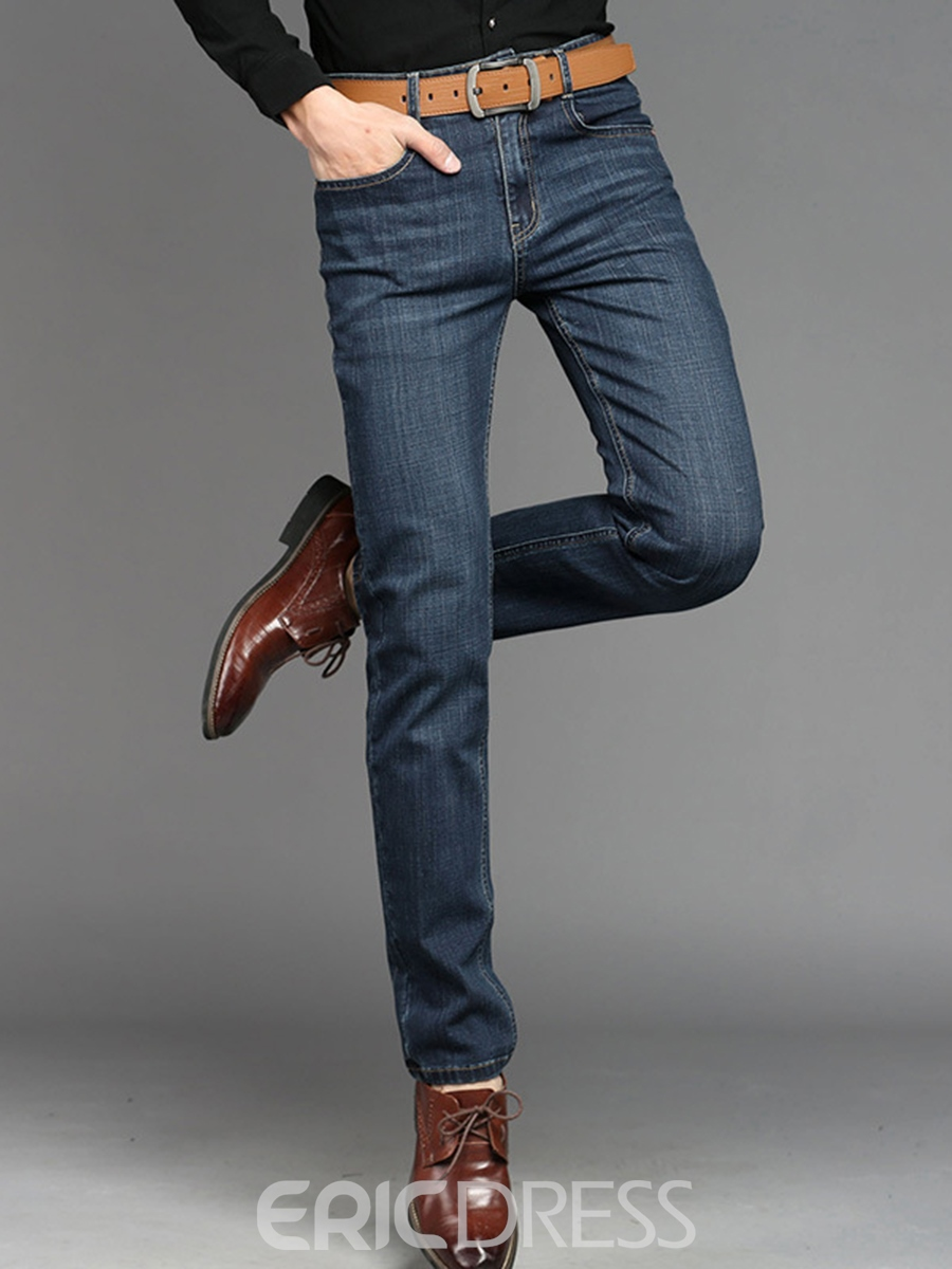 Ericdress Mid-Waist Casual Denim Men's Pants