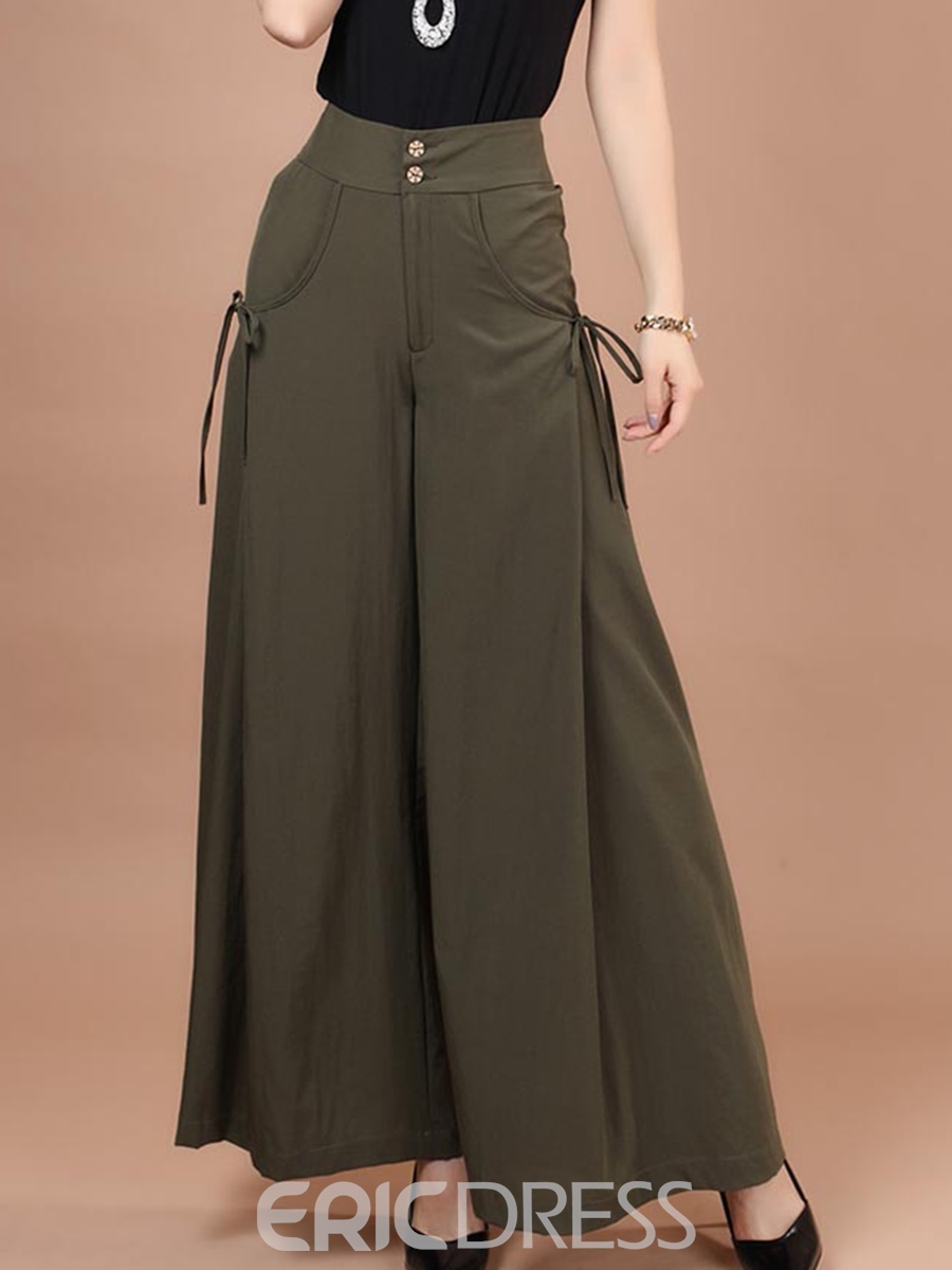 Ericdress High-Waist Lace-Up Pocket Wide Legs Plain Pants