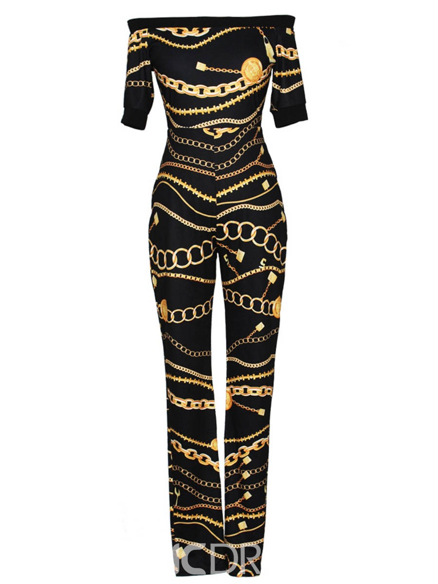 Ericdress Print Slash Neck Plain Jumpsuits Pants