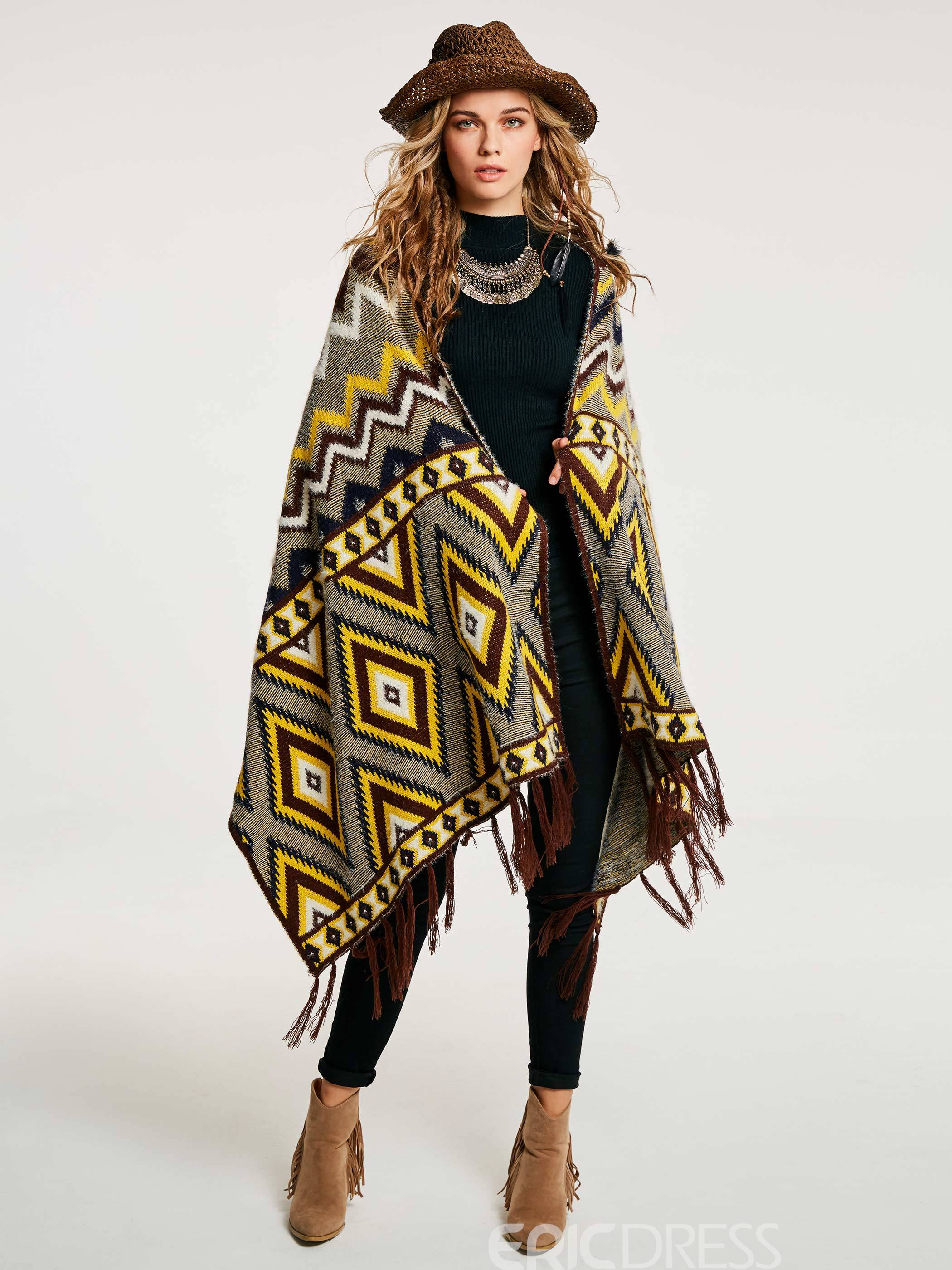 Ericdress Color Block Geometric Pattern Wrapped Cape
