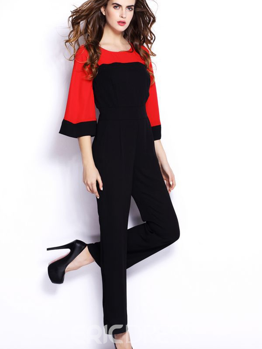 Ericdress Color Block Slim Patchwork Jumpsuits Pants