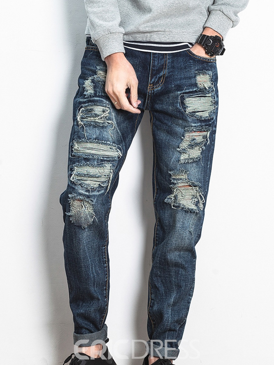 Ericdress Mid-Waist Denim Holes Casual Men's Pants