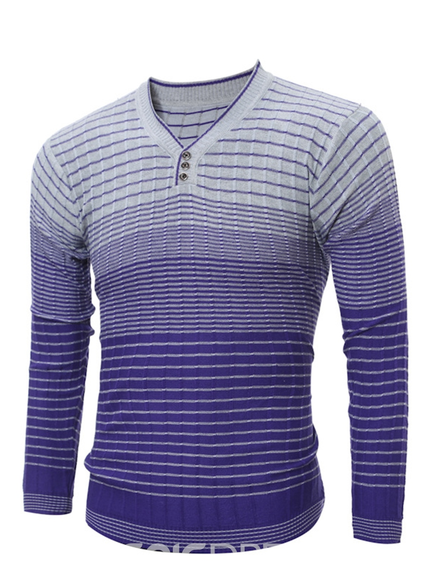 Ericdress Gradient Stripe V-Neck Vogue Slim Men's Sweater