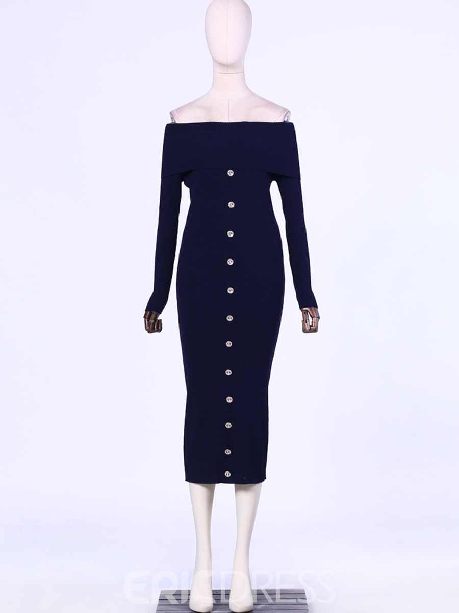 Ericdress Slash Neck Mid-Calf Thread Button Sweater Dress