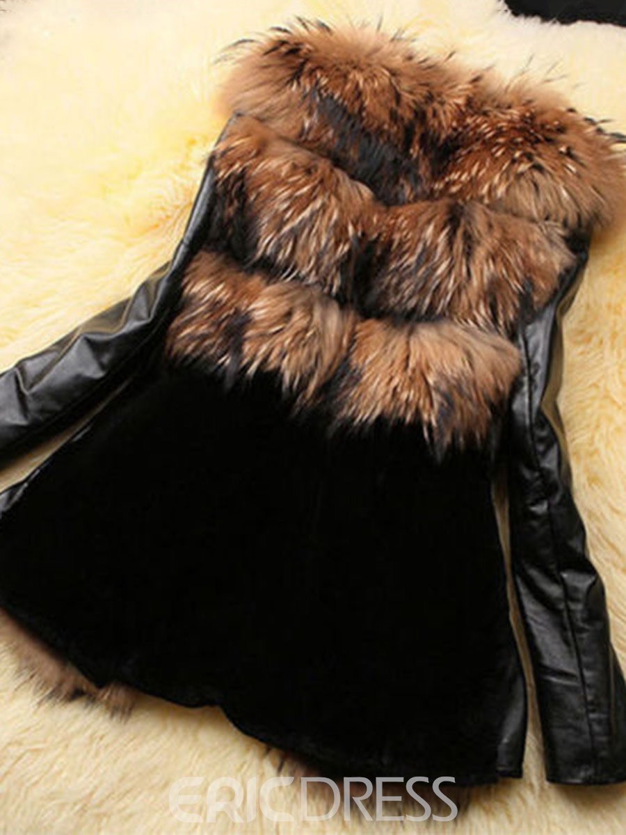 Ericdress Slim Patchwork Flocking Fur Coat